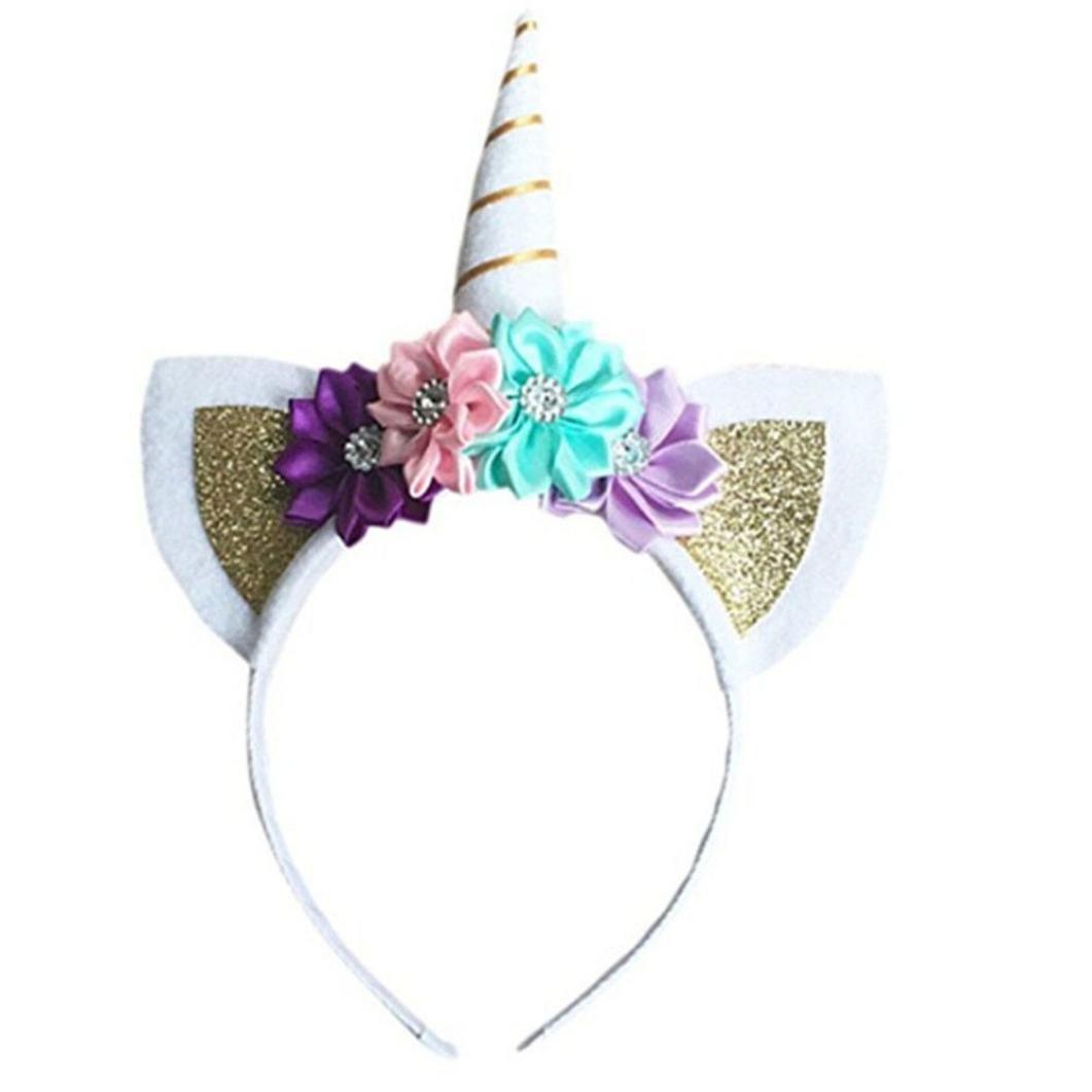 Cute Girls Toddler Baby Flower Unicorn Horn Holiday Party Hair Band Hoop Headband Headdress (Gold)