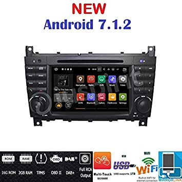 Android 7.1 GPS DVD USB SD Wifi BT radio 2 DIN navegador Mercedes Clase C W203