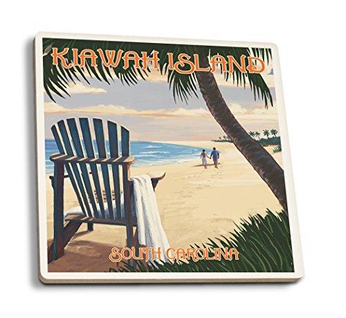 Lantern Press Kiawah Island, South Carolina - Adirondack and Palms (Set of 4 Ceramic Coasters - Cork-backed, (South Beach Adirondack Bar)