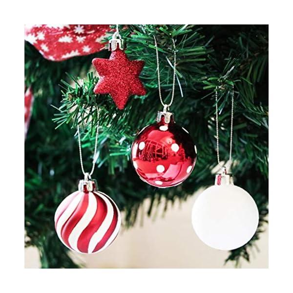 Sunshine smile Decorazioni Albero di Natale,Palle di Natale in plastica,Palline di Natale,Palline di Natale,Palline di Natale Decorazioni,Plastic Palline (Rosso Bianco Verde) 3 spesavip