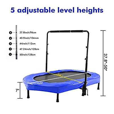 FUNMILY Rebounder Trampoline, Foldable Trampoline with Adjustable Handle, Parent-Child Twins Portable Trampoline, Exercise Trampoline for Indoor/Garden/Workout Cardio : Sports & Outdoors