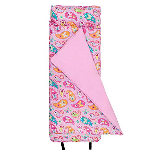 Wildkin Original Nap Mat, Features Built-In Blanket and Pillow, Perfect for Daycare and Preschool or Napping On-the-Go, Olive Kids Design – Paisley