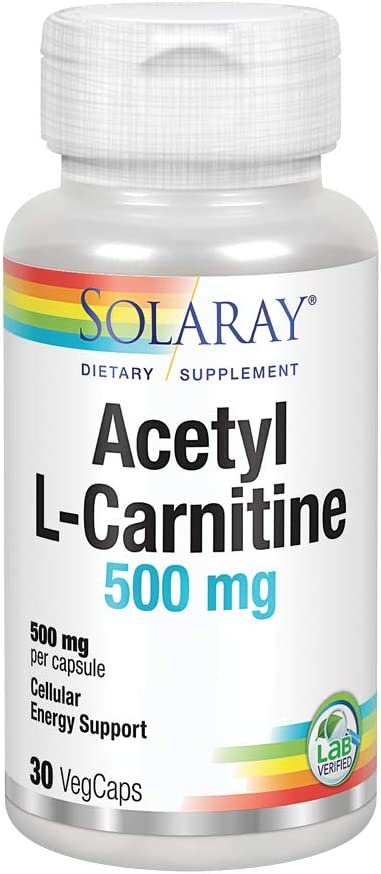 Solaray Acetyl L-Carnitine 500 mg | Healthy Cellular Energy, Memory, Mood, and Cardiovascular Support | 30 VegCaps