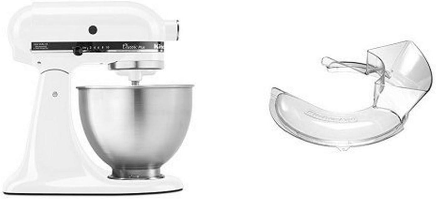 KitchenAid KSM75WH Classic Plus Series 4.5-Quart Tilt-Head Stand Mixer, White and KitchenAid KN1PS Pouring Shield, 1-Piece Bundle