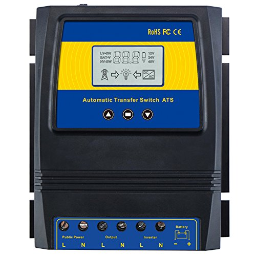MOES Dual Power Controller 50A 5500 Watt Automatic Transfer Switch for Off Grid Solar Wind System ATS DC 12V 24V 48V AC 110V ()