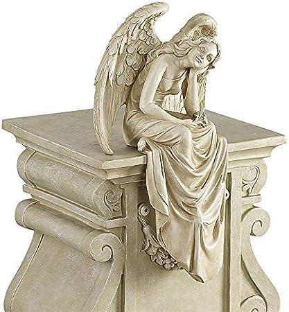 Design Toscano NG34725 Statua di Angelo di Grazia Seduta di Riposo Avorio 15x21.5x38 cm