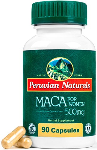 Maca for Women 500mg - 90 Capsules - Peruvian Naturals | Gelatinized Blend of Certified-Organic Red and Yellow Maca Roots for Energy and Hormonal Balance