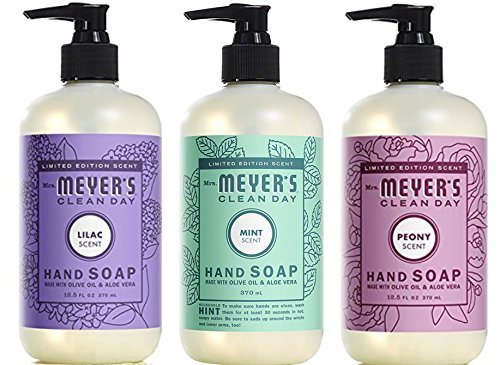 Mrs. Meyer's Spring Hand Soap Variety Pack, 1 Lilac, 1 Peony, 1 Mint , 3 CT