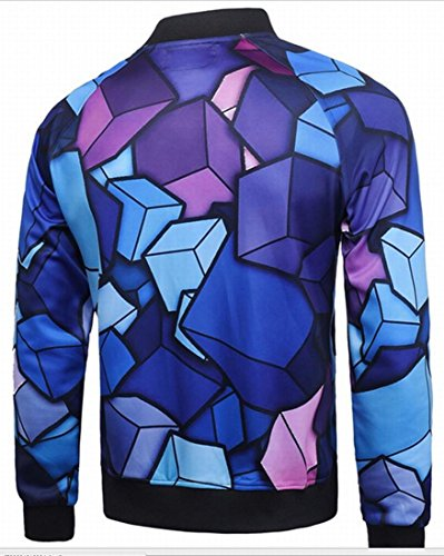 Digital Zipper Front Outwear Baseball 1 Slim Jacket Fit Mens Print Generic B4wqcO11