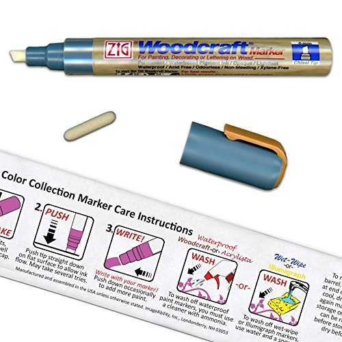 Cohas Color Collection Zig Woodcraft Waterproof Chisel 6mm Tip Periwinkle Blue Marker with Bullet 2mm Tip