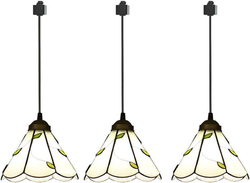 ANYE 3-Pack H-Type Track Light Pendants Tiffany Retro Lighting Nordic Retro Art Handmade Glass Shade Lighting Chandelier Bulb Not Included GD-TB0297x3P-50