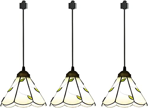 ANYE 3-Pack H-Type Track Light Pendants Tiffany Retro Lighting Nordic Retro Art Handmade Glass Shade Lighting Chandelier Bulb Not Included GD-TB0297x3P-50