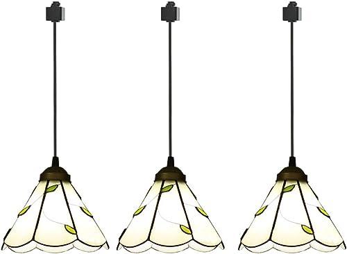 ANYE Tiffany 3-Lights Pendant Lighting Hardwired E26 Lamp Socket Mediterranean Style Pendant Ceiling Light for Restaurant Dining Room Loft Deco Bulb Not Included