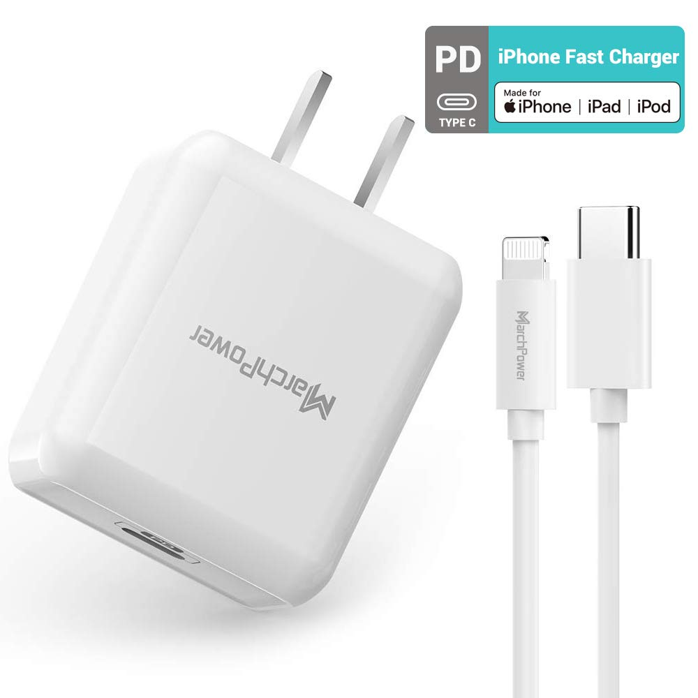 iPhone Fast Charger Wall Plug 18W Type C Power Adapter with USB C to Lightning Cable 6ft MFi Certified Quick Charging Syncing Cord Compatible with iPhone 11/ Pro/Pro MAX/X/XS/XR/XS Max/8/8 Plus by Marchpower
