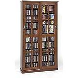 LDE LESLIE DAME Leslie Dame MS-700W Mission Multimedia DVD/CD Storage Cabinet with Sliding Glass Doors, Walnut
