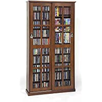 Leslie Dame MS-700W Mission Multimedia DVD/CD Storage Cabinet with Sliding Glass Doors, Walnut