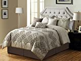 HGS 7-Pc Cullen Floral Damask Embroidery Pleated Stripe Comforter Set Antique Beige Gray King