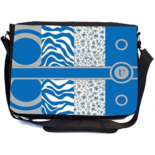 Rikki Knight Letter V Dazzling Blue Leopard Zebra Design Multifunctional Messenger Bag - School Bag - Laptop Bag - with padded insert for School or Work - Includes Matching Compact Mirror