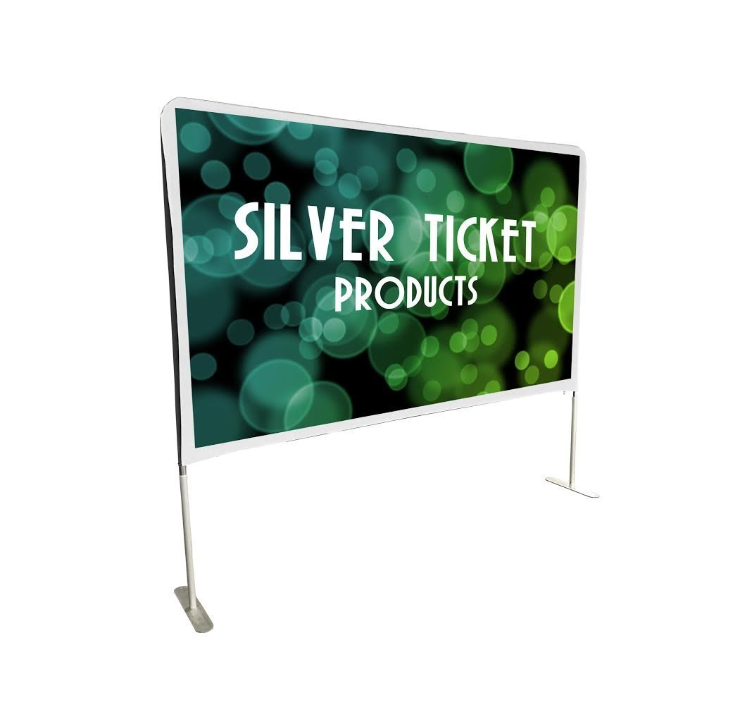 STE-169150 Silver Ticket Entry Level Indoor / Outdoor Portable Backyard Movie Projector Screen White Cloth Material (STE 16:9, 150'')
