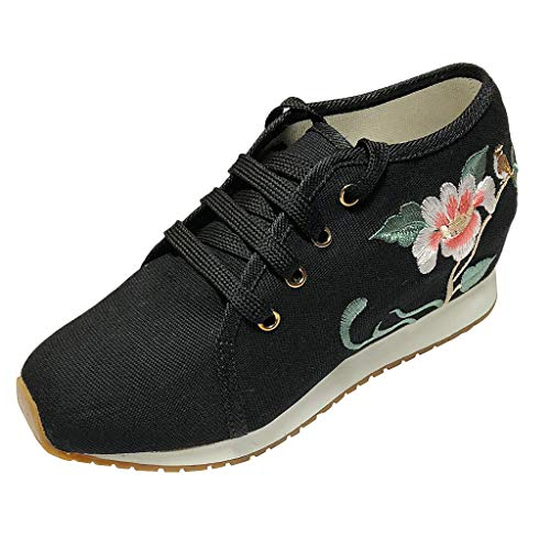 Behkiuoda Women Retro Embroider Lace Up Round Toe Breathable Casual Canvas Outdoor Wedge Shoes -