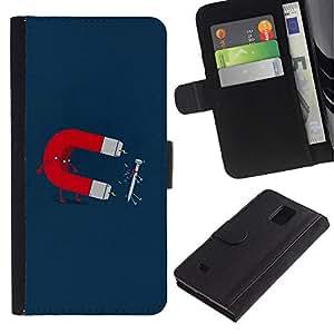 Ihec-Tech / Flip PU Cuero Cover Case para Samsung Galaxy Note 4 SM-N910 - Funny Magnet & Nail