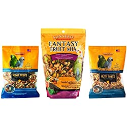 Sunseed Cockatiel, Lovebird, Parakeet and Conure Treats 3 Flavor Variety Bundle (1) Each: Sunsations Veggie Tidbits, Fantasy Fruit Mix, and Sunsations Nutty Tidbits, 3.5-11 Ounces