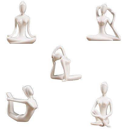 Fenteer 5X Figura De Cerámica De Yoga Adorno Estatua ...