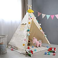 Han cheng he Kids Tent Portable Cotton Canvas Tent Playhouse Tents Photography Props Teepee for Girls Boys Babies Toddler with Curtains Window Indoor Room Decoration Childrens Teepee Girls and Boys
