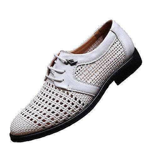Cuero Huecas De Los De Ocasionales De white Zapatos Cuero Sandalias De Hombres Hoyo De Hombres Los Negocios YXLONG Vestido Nuevo De De Respirables Verano Zapatos nHY0Ya