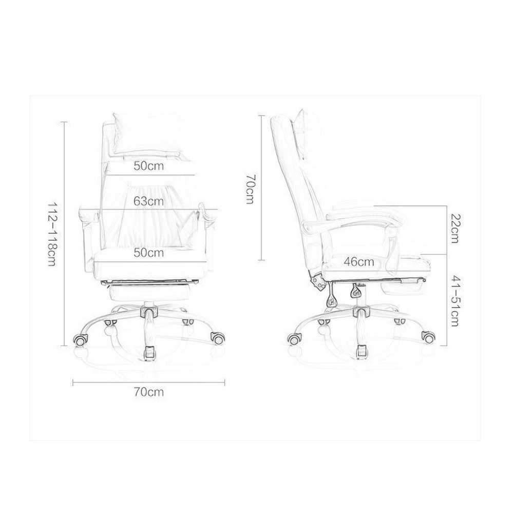 Svängbar stol hushåll dator kontor stol kan ligga ner modern enkel fritidsstol (färg: vit) Svart