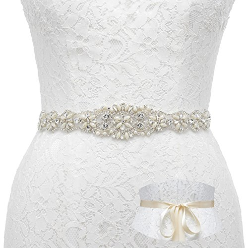 SWEETV Pearl Beaded Wedding Dress Belt Rhinestone Bridal Belt Sash for Evening Gown with Ribbon, Ivory