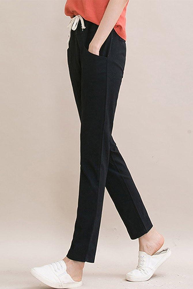 Sheicon Women Linen Cotton Blend Elastic Waist Drawstring Pants With Pockets Color Black Size L