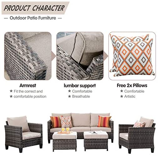 Garden and Outdoor XIZZI Patio Furniture, Outdoor Garden Sofa sectional, Wicker Patio Furniture with Wather Resistant Cushion and 2 Pillows… patio furniture sets