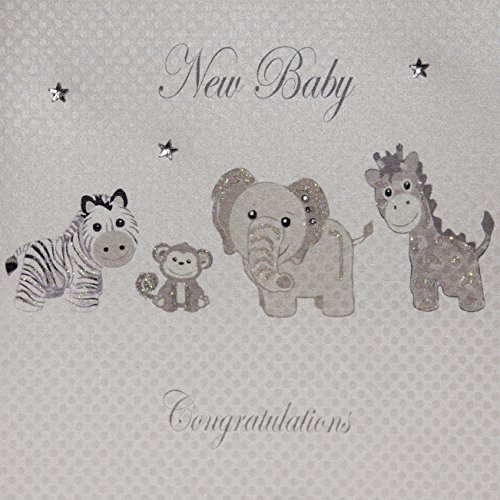 - white cotton cards New Baby Congratulations Handmade Card, Silver by WHITE COTTON CARDS