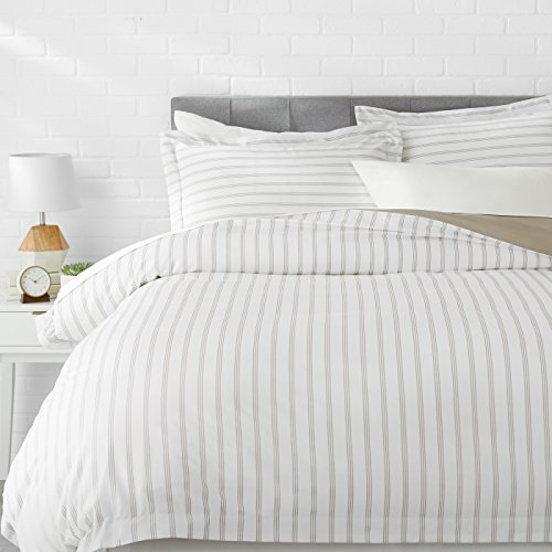 AmazonBasics Microfiber Duvet Cover Set - Lightweight and Soft - Full/Queen, Taupe Stripe Blue Striped Duvet Cover
