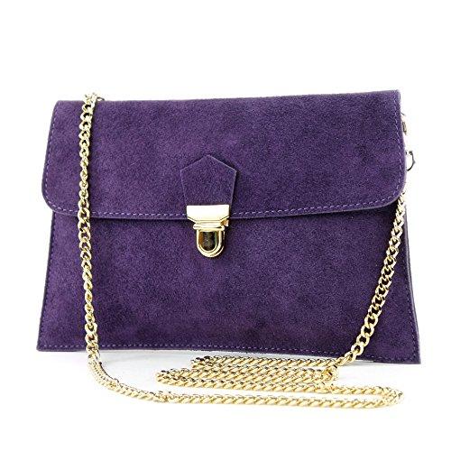 modamoda de -. ital bolsa de gamuza embrague bolsa de embrague noche bolsa bolsa de Ciudad T206 Dunkellila