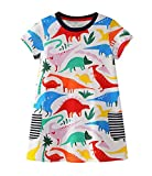LYXIOF Toddler Girls Cotton Short Sleeve Dress Casual Cartoon Dresses 1-Dinosaur 2T
