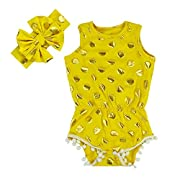 Anbaby Gilrs Bronzing Dot Romper Climbing Clothes with A Bow Headband Yellow 6-12Months