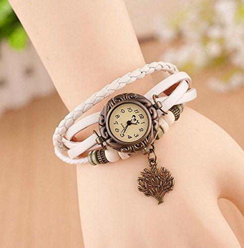 Hosaire Watch Bracelet Vintage Multilayer Weave Wrap Around Leather Chain Bracelet Quartz Wrist Watch with Tree Pendant for Women Men White by Hosaire (Image #3)