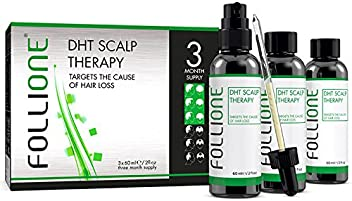 Follione DHT Scalp Therapy - three month supply. Dermatologically Tested. Regrow Hair Loss from DHT & Alopecia. Generate Hair Growth & Prevent Further Balding.