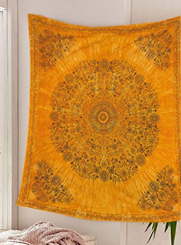 SheetKart Mandala Tapestry Wall Hanging, Medallion Indian Cotton Printed Floral Art, Wall Décor Tapestries - Large, Beige Yellow Tie - Tapestries Wall Dye Tie