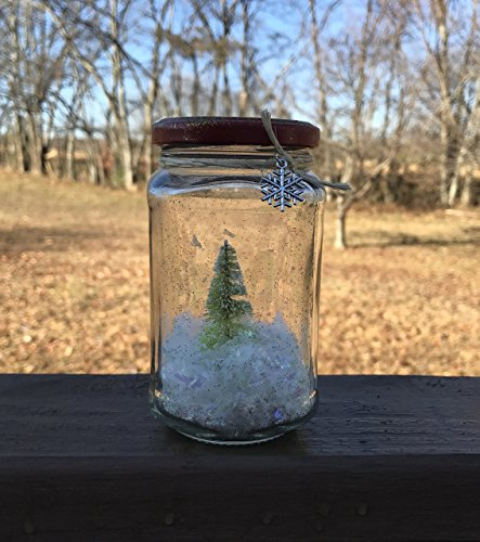 Vintage inspired Green Bottle Brush Christmas Tree Waterless Glitter Snow Globe in upcycled jar with Snowflake Charm - Retro holiday decor (Globe Snow Jar)