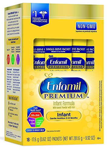 Enfamil PREMIUM Non-GMO Infant Formula, Powder, 17.4 Gram Single Serve Packets,16 Count - Pack of 2