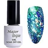 Zolimx Gel Olografico Del Pavone,Gala Flake Glitter Alluminio Fiocchi Di Gala Holo Paillettes DIY Smalto UV Gel