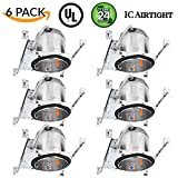 "Sunco Lighting 6 Pack 6"" New Construction LED Can Air Tight IC Housing LED Recessed Lighting"
