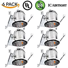 """Sunco Lighting 6 Pack 6"""" New Construction LED Can Air Tight IC Housing LED Recessed Lighting, TP24"""