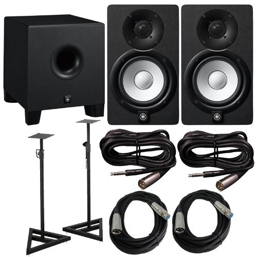 Yamaha HS Series HS5 2 Way Bass Reflex Biamplified Nearfield Studio Monitor in Black (Pair) with Bass-Reflex Powered Subwoofer, Studio Moniotors Stands (Pair), 2 XLR(M) Cables and 2 Microphone ()