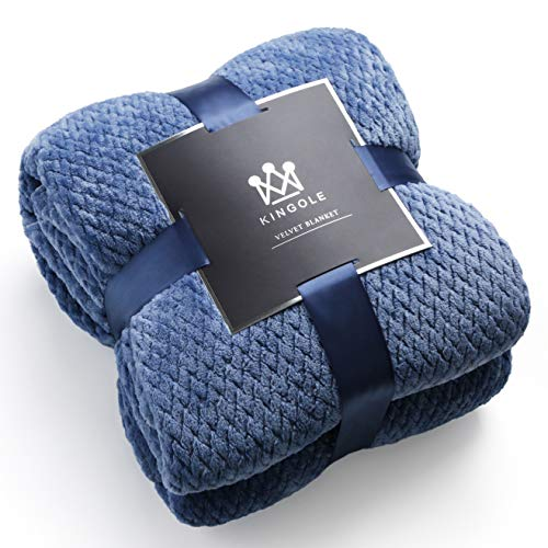 Kingole Flannel Fleece Luxury Throw Blanket, Sapphire Blue Queen Size Jacquard Weave Pattern Cozy Couch/Bed Super Soft and Warm Plush Microfiber 350GSM (90