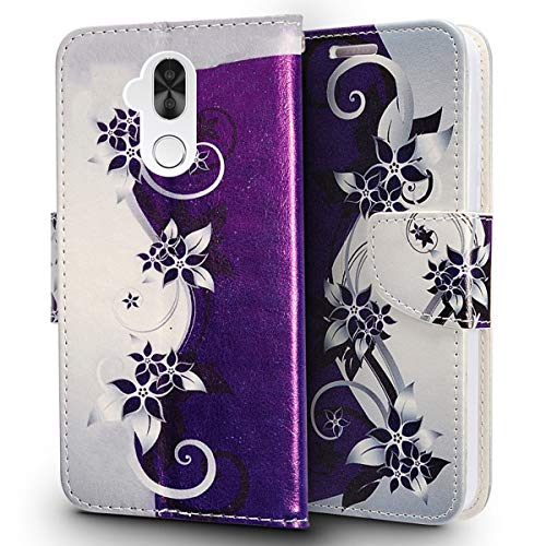 LuckieFind CompatibleAlcatel 7 ACTL6062  Alcatel Revvl 2 Plus (2018)  Alcatel Folio Premium Flip Wallet Pouch Credit Card Slot Cover Case Screen Protector (Wallet Purple Vine) / LuckieFind CompatibleAlcatel 7 ACTL6062  Alcatel Revv...