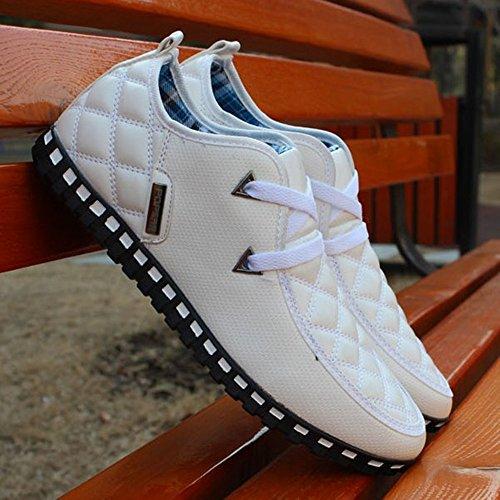 Cuero Zapatos Casual Cómodo Up Lace LIEBE721 Mocasines Blanco Antideslizante Conducir Hombres Casual Luz vTnqwt6
